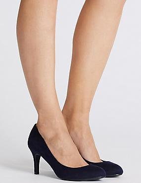 Wide Fit Stiletto Almond Toe Court Shoes, NAVY, catlanding
