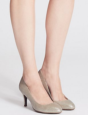 Wide Fit Stiletto Almond Toe Court Shoes, METALLIC, catlanding
