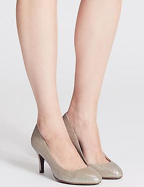 Wide Fit Stiletto Almond Toe Court Shoes, METALLIC, catlanding