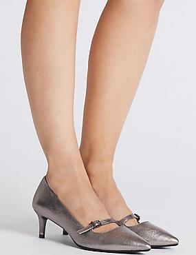 Wide Fit Kitten Heel Bar Court Shoes, METALLIC, catlanding