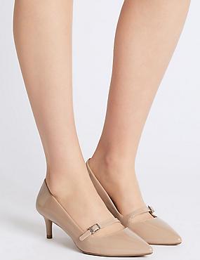 Wide Fit Kitten Heel Bar Court Shoes, CARAMEL, catlanding