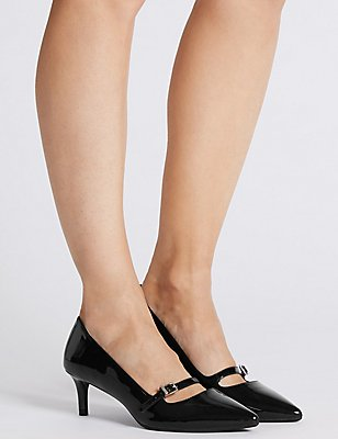 Wide Fit Kitten Heel Bar Court Shoes, BLACK PATENT, catlanding