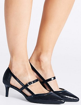 Wide Fit Kitten Heel Strap Court Shoes , NAVY MIX, catlanding