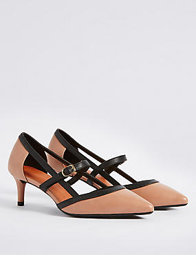 Wide Fit Kitten Heel Strap Court Shoes , NUDE MIX, catlanding