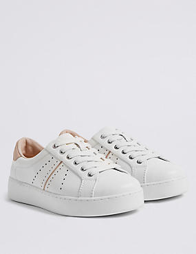 Extra Wide Fit Lace-up Trainers, WHITE, catlanding