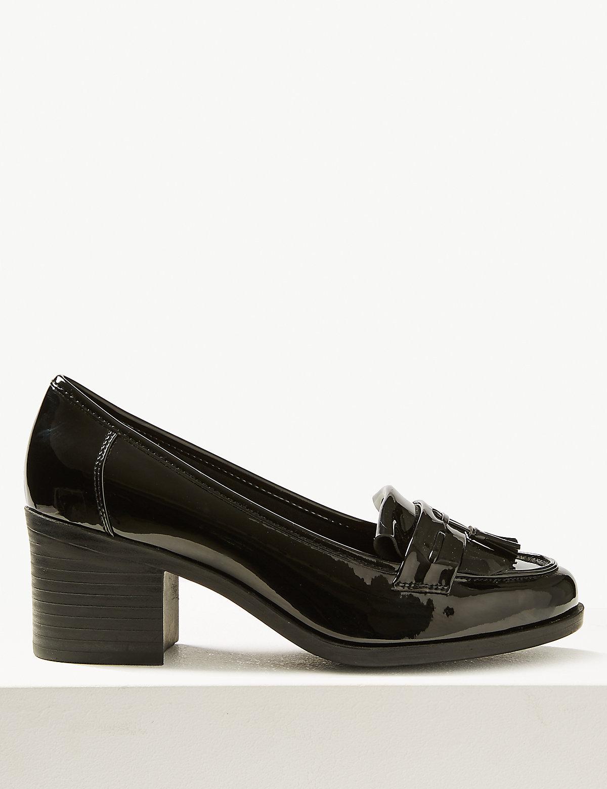 Лофферы на широком каблуке