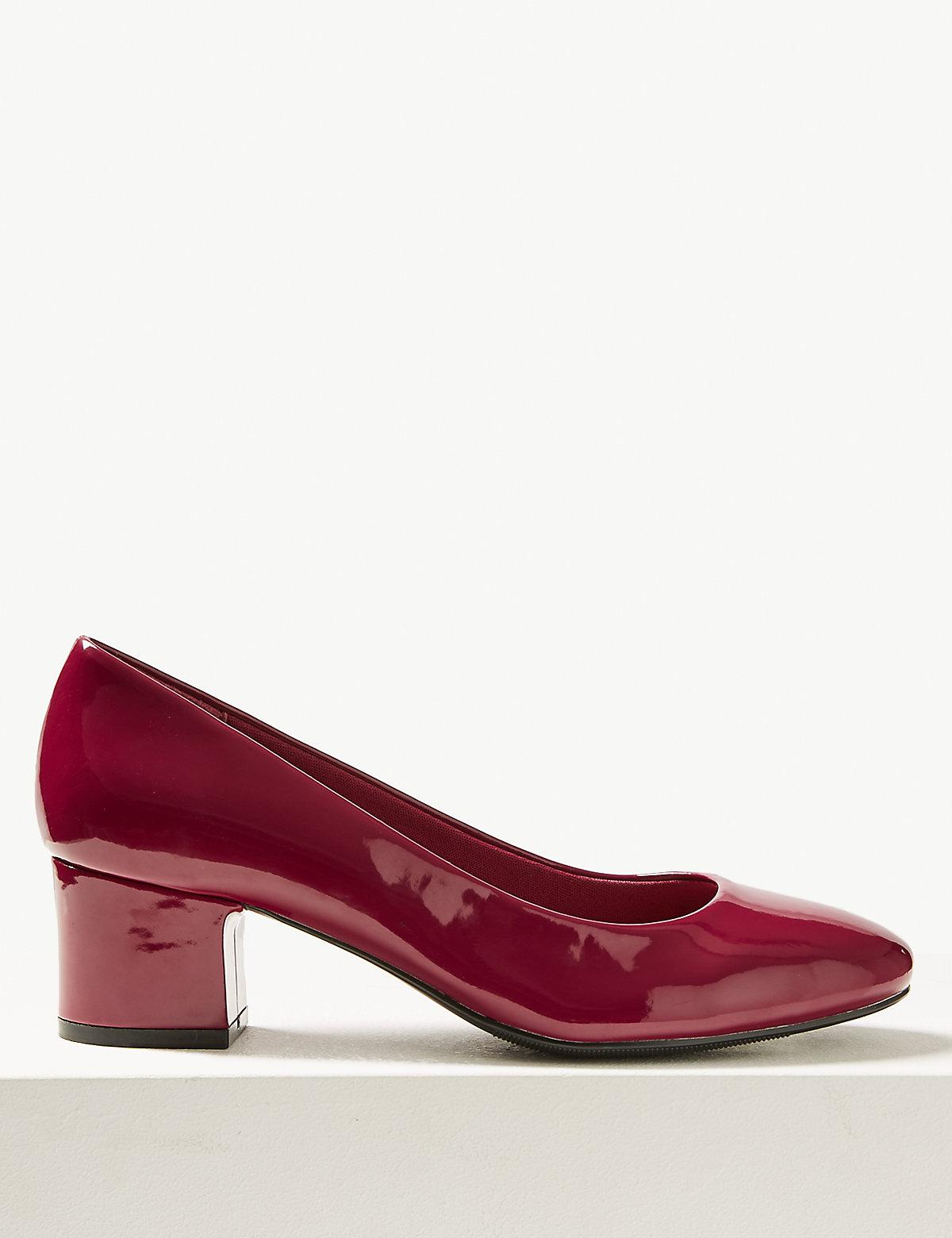 Туфли лакированные на блочном каблуке, вишневые и бежевые