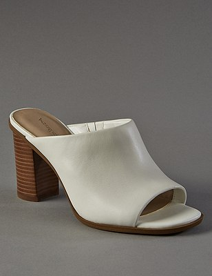 Leather Block Heel Mule Sandals with Insolia®, WHITE, catlanding