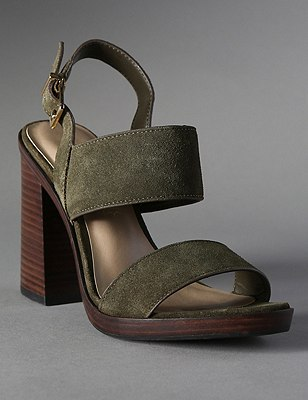 Suede Two Band Platform Sandals with Insolia®, KHAKI, catlanding