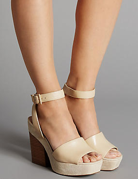 Leather Block Heel Sandals with Insolia®, CREAM, catlanding