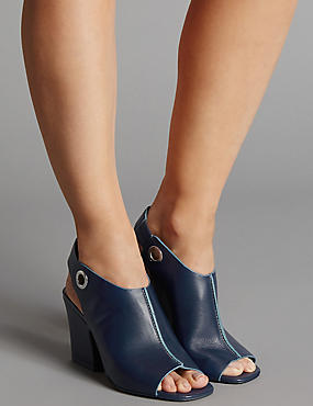 Leather Angular Heel Sandals with Insolia®, NAVY, catlanding