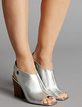 Leather Angular Heel Sandals with Insolia®, SILVER, catlanding