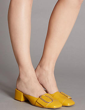 Leather Block Heel Mule Shoes with Insolia®, OCHRE, catlanding