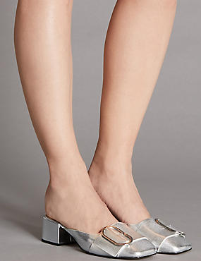 Leather Block Heel Mule Shoes with Insolia®, SILVER, catlanding