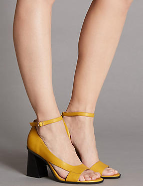 Leather Angular Heel Asymmetric Sandals, OCHRE, catlanding