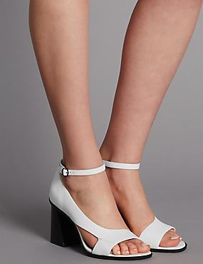 Leather Angular Heel Asymmetric Sandals, WHITE, catlanding
