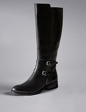Leather Flat Rider Knee Boots with Insolia Flex®