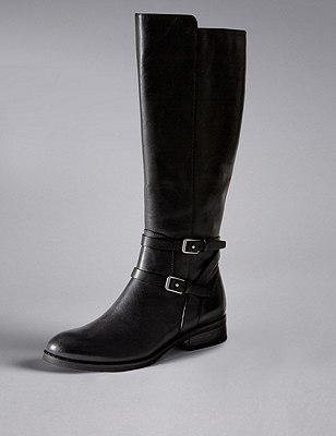 Leather Flat Rider Knee Boots with Insolia Flex®, BLACK, catlanding