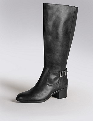 Leather Stretch Zip Knee Boots with Insolia®, BLACK, catlanding
