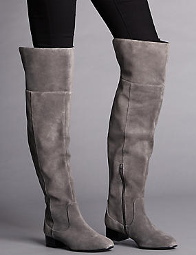 Stain Away™ Suede Block Heel Over The Knee Boots with Insolia Flex®, GREY, catlanding