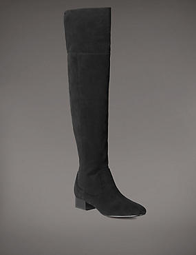 Stain Away™ Suede Block Heel Over The Knee Boots with Insolia Flex®, BLACK, catlanding