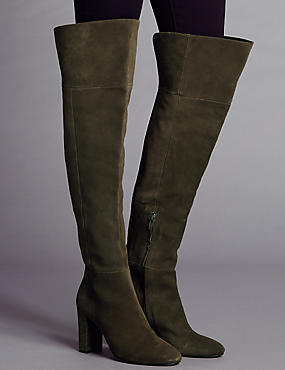 Suede Over The Knee Boots with Insolia®, OLIVE, catlanding