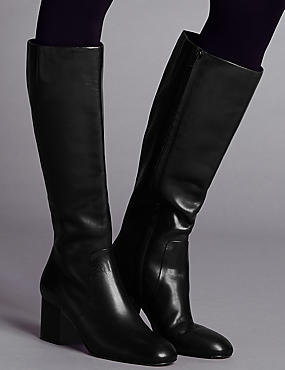 Block Heel Knee Boots with Insolia®, BLACK, catlanding