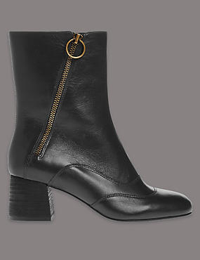 Leather Mid-Calf Boots with Insolia®, BLACK, catlanding
