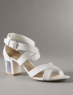 Leather Crossover Clear Heel Sandals with Insolia®, WHITE, catlanding
