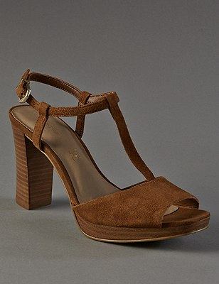 Stain Away™ Suede Platform T-Bar Sandals with Insolia®, TAN, catlanding