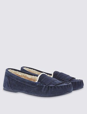 Freshfeet™ Suede Slippers with Silver Technology, NAVY, catlanding