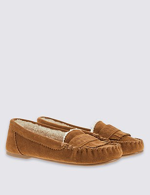 Freshfeet™ Suede Slippers with Silver Technology, TAN, catlanding