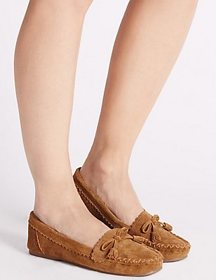 Suede Moccasin Slippers, TAN, catlanding