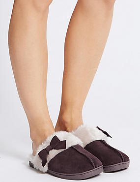 Suede Bow Mule Slippers, BERRY, catlanding