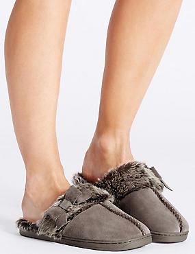 Leren pantoffels met strikje, NERTS, catlanding