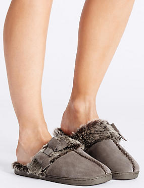Leather Bow Mule Slippers, MINK, catlanding
