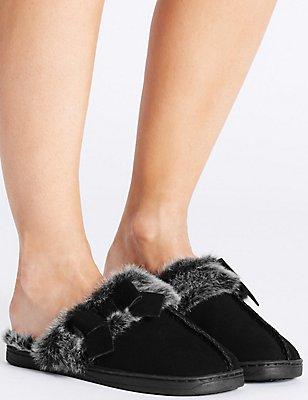 Suede Bow Mule Slippers, BLACK, catlanding