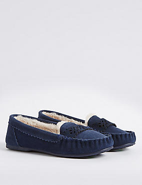 Leather Laser Cut Moccasin Slippers, NAVY, catlanding