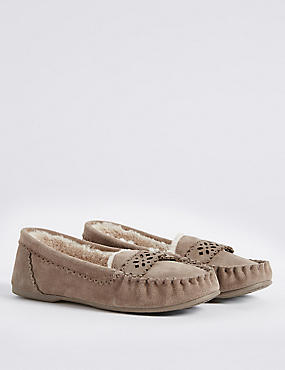 Leather Laser Cut Moccasin Slippers, MINK, catlanding