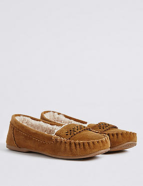 Suede Laser Cut Moccasin Slippers, TAN, catlanding