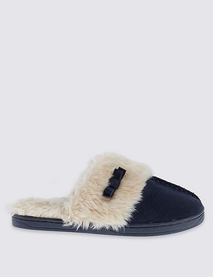 Freshfeet™ Suede Faux Fur Trim Mule Clogs with Silver Technology, NAVY, catlanding