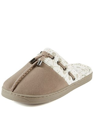 Secret Support™ Suede Mule Slippers with Cool & Fresh™ , MINK, catlanding