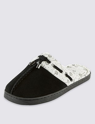 Secret Support™ Suede Mule Slippers with Cool & Fresh™ , BLACK, catlanding