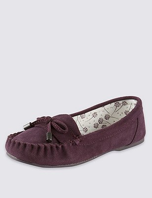 Freshfeet™ Suede Moccasin Slippers with Silver Technology & Stain Away™, PURPLE, catlanding