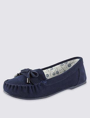 Freshfeet™ Suede Moccasin Slippers with Silver Technology & Stain Away™, NAVY, catlanding