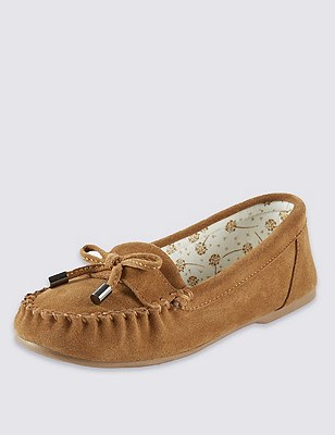 Freshfeet™ Suede Moccasin Slippers with Silver Technology & Stain Away™, TAN, catlanding