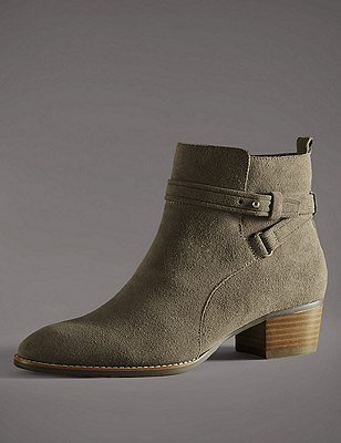 Stain Away™ Suede Ankle Boots with Insolia®, KHAKI, catlanding