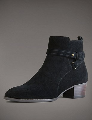 Stain Away™ Suede Ankle Boots with Insolia®, BLACK, catlanding