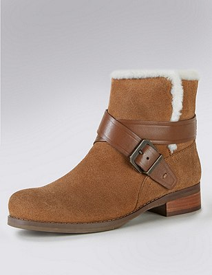 Stain Away™ Suede Faux Fur Trim Biker Boots with Insolia Flex®, CHESTNUT, catlanding
