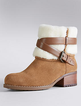 Suede Faux Fur Cuff Biker Boots with Insolia Flex®